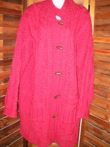 ARAN CRAFTS IRELAND LONG IRISH FISHERMAN CARDIGAN SWEATER COAT MERINO