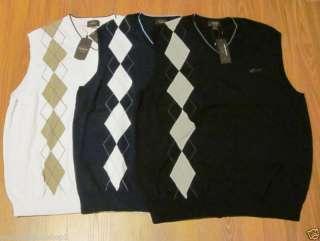 Greg Norman Mens Argyle Sweater Vest 3 Colors Available