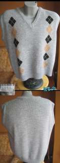 Vintage 80s Mens GREY ARGYLE NERD SWEATER VEST LARGE L