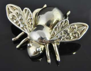 TYS Sterling Silver Artisan Fly Insect Bee Pin Brooch