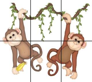 TWO MONKEYS FOR NOAHS ARK JUNGLE SAFARI WALL ART MURAL STICKERS DECALS