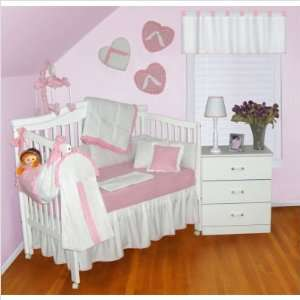 Babykins White Pink Nursery Baby Girl 7 PC Crib Bedding Set Baby