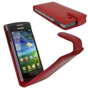 igadgitz Red Leather Case Cover Holder for Samsung Wave 3 Bada