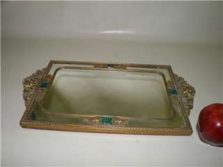 ANTIQUE FILIGREE ORNATE JEWELED JADE MIRROR VANITY DRESSER TRAY 17