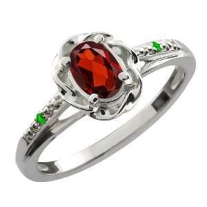 0.56 Ct Oval Red Garnet Green Tsavorite Sterling Silver