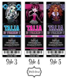 Monster High Birthday Party Ticket Invitation   YOU PRINT DIGITAL FILE