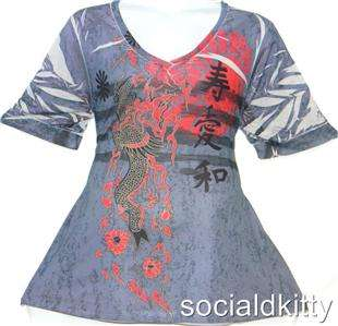 SIZE 2X~3X~sexy~BLUE/RED~ASIAN~tattoo~DRAGON~sublimation~JAPAN~knit~T