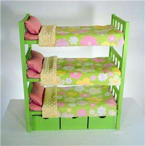 Triple Bunk Beds & Bedding Fits 3 American Girl Dolls Green
