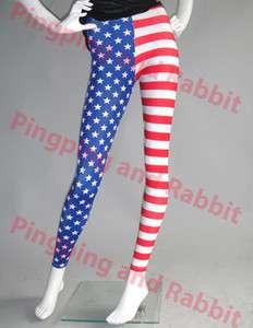 Flag Print Patriotic Stars Tripes Leggings Tights Pants Spandex