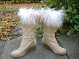 Brown Suede Wedge Heel Fur Trimm Boots