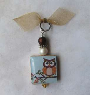 Owl on a Branch Autumn Fall Colors Swarovski Scrabble Charm Pendant