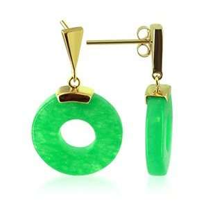 KT Yellow Gold Donut Green Jade 14k Post back Drop Earrings Jewelry
