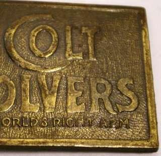 Vintage Colt Revolver Trade Mark Brass Belt Buckle Worlds Right Arm