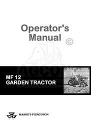Massey Ferguson 12 MF12 Garden Tractor Operator Manual