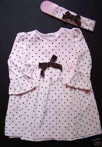 Closet Baby Girls Pink Brown Velour Dress 12 Months NWT