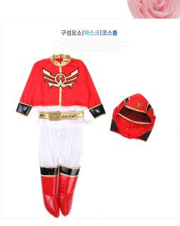 children kids boy Power Rangers SET Halloween Costume (red)