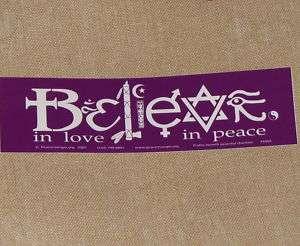 Bumper Sticker PEACE COEXIST BELIEVE tolerance LOVE