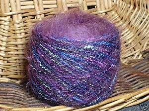 njy balled yarn angora mohair purple fuzzy fun