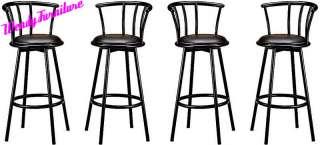 Set of 4 Metal Black Swivel Vinyl Seat Pub Bar Stools Chairs Barstool