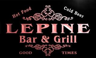 u26187 r LEPINE Family Name Bar & Grill Home Beer Food Neon Sign