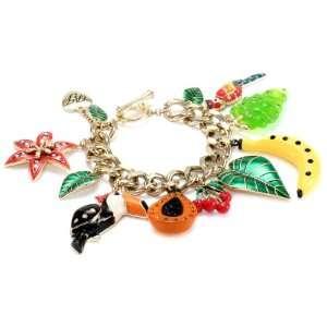 Betsey Johnson Rio Toucan Multi Charm Toggle Bracelet