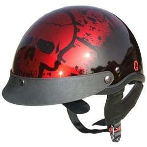 DOT Motorcycle Half Beanie Helmet Boneyard Wine Red