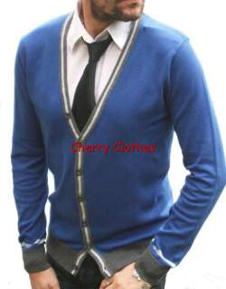 MENS BLUE & GREY CARDIGAN   SLIM FIT   SMALL S