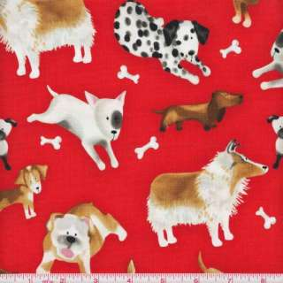 Treasures 5317 DOG Collie DACHSHUND Terrier BEAGLE Bulldog RED 1 yard