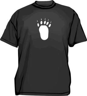 Large BEAR TRACK Paw Print Mens Tee Shirt PICK Size
