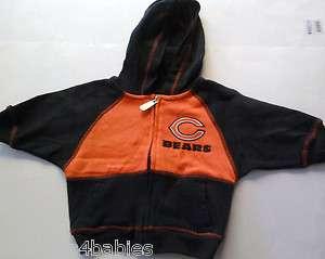 Boys Chicago Bears HOODED Sweatshirt Sweater ZIP UP Hoodie Orange Navy
