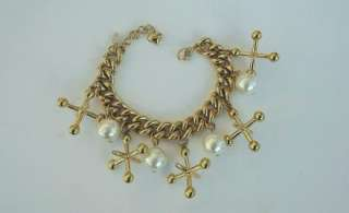 RARE VTG KIRKS FOLLY CHARM BRACELET~PLAYING JACKS THEME~THICK GOLD