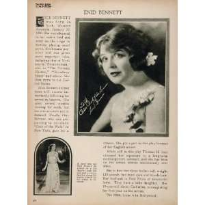 1923 Enid Bennett Silent Film Actress Biography Print