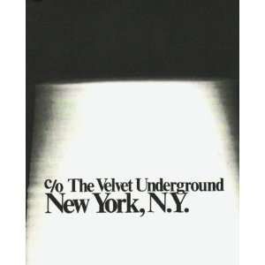 Velvet Underground, New York, N.Y.: Reed, Lou, Warhol, Andy The Velvet