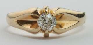 European Cut .3CT Solitaire Diamond 14K Gold Belcher Engagement Ring