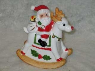 Vtg Christmas Ceramic Santa Rudolph Music Box Rocker