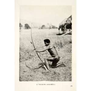 1909 Print Negrito Hunter Bow Arrow Shooting Aboriginal Philippines