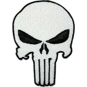 Punisher white skull logo iron on patch applique