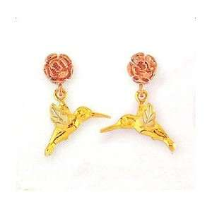 ! 10k Yellow gold Black Hills Gold Hummingbird Earrings: Jewelry