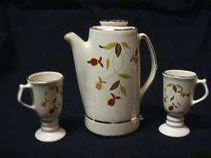 JEWEL TEA AUTUMN LEAF MINIATURE PERCOLATOR+2 IRISH COFFEE MUGS