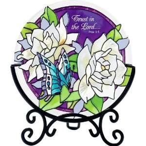Trust in the Lord   Gardenia & Blue Butterfly Hand Painted Stained