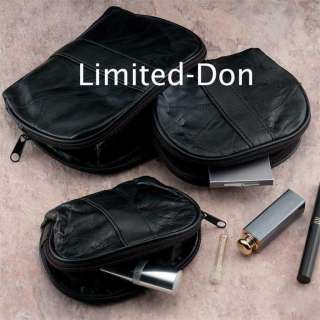 LEATHER TRAVEL MAKE UP BAG THREE PIECE SET