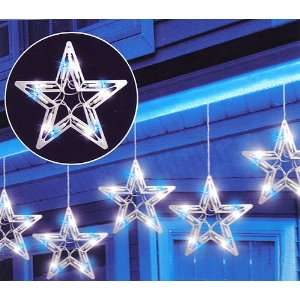Set Of 6 Blue & White LED Star Christmas Lights With 8