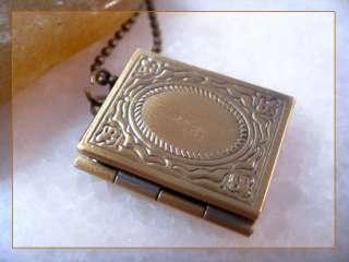 Vintage Brass Bible Book Picture Locket Charm Pendant Necklace