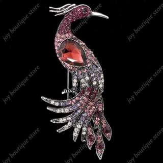 Swarovski crystal rhinestone peacock phoenix bird fashion pin brooch