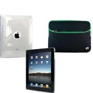 Smoke Full Body Skin Hard Shell Cover + Green Sleeve Case for iPad