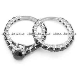 70ct BLACK DIAMOND MATCHING ENGAGEMENT WEDDING RING SET 14k WHITE GOLD