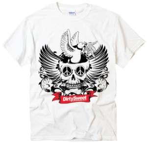 Skull Peace design cool rock hard tattoo white t shirt