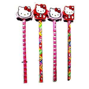 4 Hello Kitty Pencils W Eraser Toys & Games