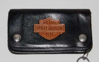 VINTAGE HARLEY DAVIDSON BLACK LEATHER ORANGE LOGO WALLET W/ CHAIN USA
