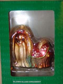 Blown Glass Christmas Ornament Pekinese NIB
